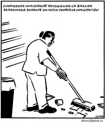 el roto - inmigrante limpia mitin - 28-02-08