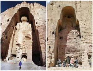 Combination photo of Buddha statue in Bamiyan before and after its destruction.