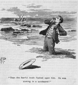 Illustration_from_1901_of_young_man_sinking_in_quicksand_as_his_ship_sinks_after_hitting_rocks_in_distance_