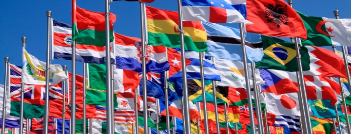 The national flags is flying around the world